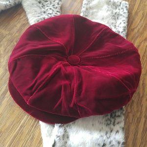 Red velvet newsboy cap hat